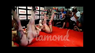 Lesbian threesome public show on stage - Venus Berlin erotic fair