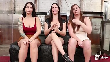 Busty lesbians fucked each other in a BDSM session