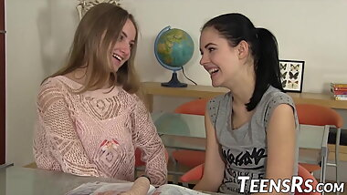 Lesbos having some fun in their teens with dildos and oral