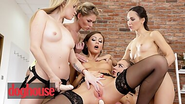 Dog House - Lesbian gets dominated by 4 strapons in gangbang
